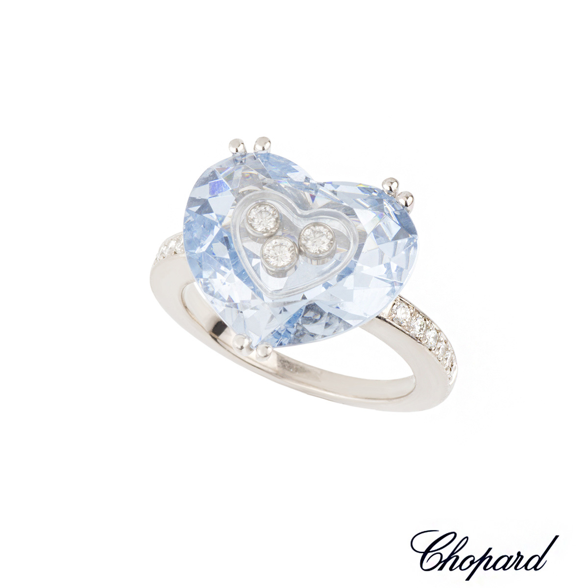 Chopard 18k White Gold Happy Diamonds Ring 82/6234/07